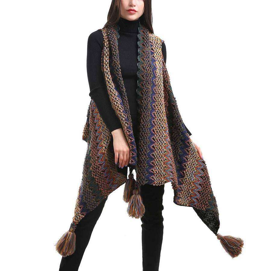 Multicolor Knit Long Vest,Outerwear,Mad Style, by Mad Style