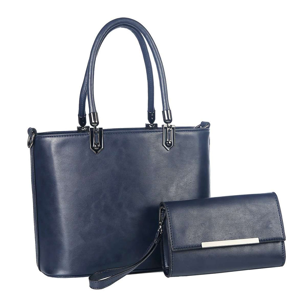Navy Citi Duo Handbag Set,Totes,Mad Style, by Mad Style