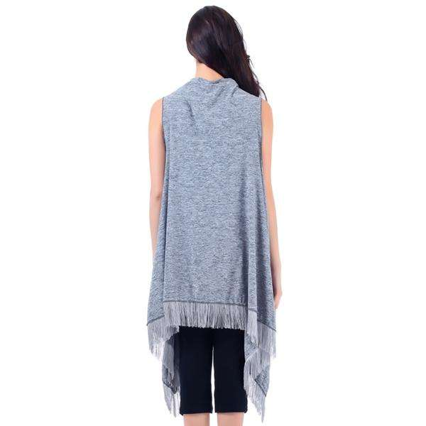 Oatmeal Fringed Hem Draping Vest,Outerwear,Mad Style, by Mad Style