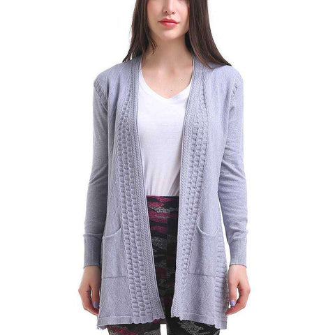 One Size Grey Waffle Pocket Cardigan