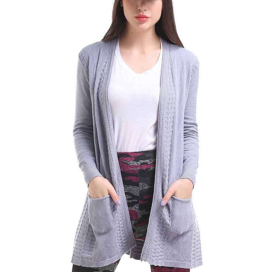 One Size Grey Waffle Pocket Cardigan,Outerwear,Mad Style, by Mad Style