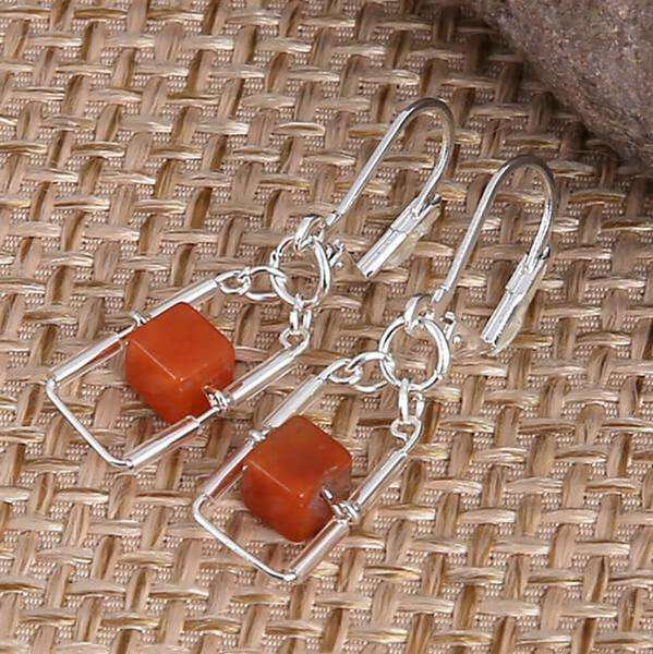 Orange Sea Glass With Square Cage Earrings