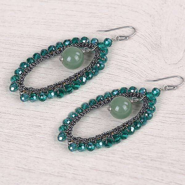 Oval Earring With Semi Precious Drop Crystals