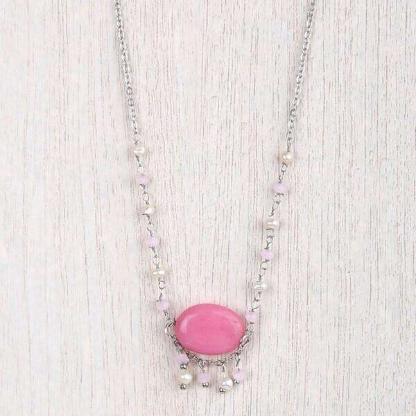 Oval Stone With Pearls Crystals Necklace