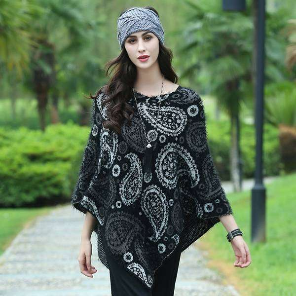 Paisley Cloak Poncho,Outerwear,Mad Style, by Mad Style