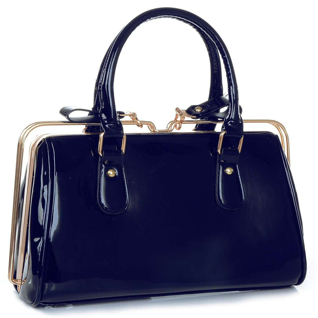 Patent Rail Bowler Handbag,Satchels,Mad Style, by Mad Style
