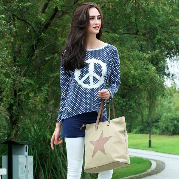 Peace & Polka Dots Blouse,Tops,Mad Style, by Mad Style