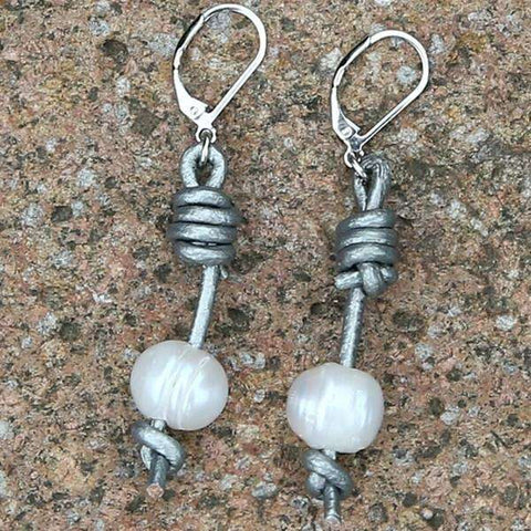 Pearl Barbell Earrings