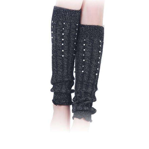 Pearls on Knit Leg Warmers