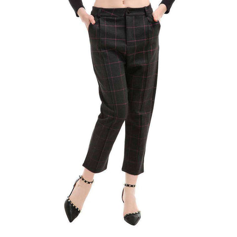 Pink Plaid Stretch Slant Pocket Pant