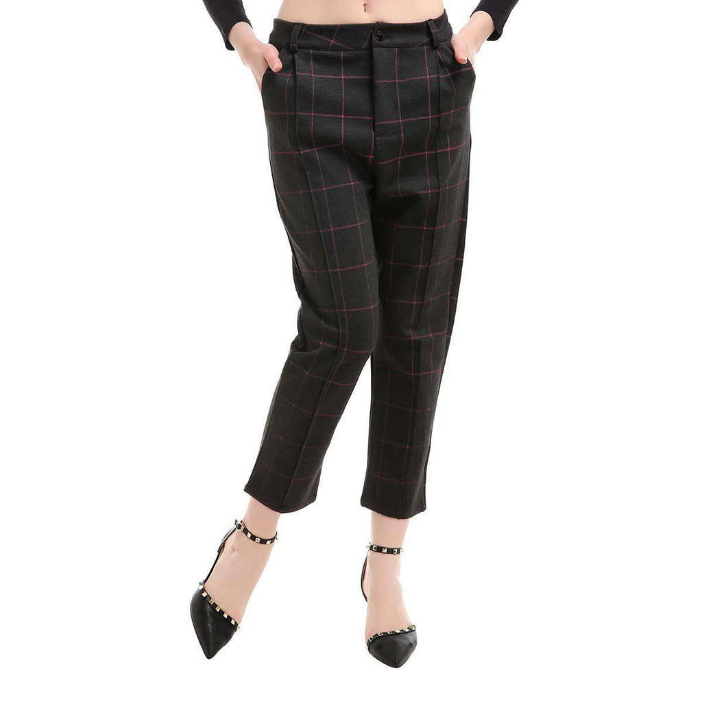 Pink Plaid Stretch Slant Pocket Pant,Bottoms,Mad Style, by Mad Style