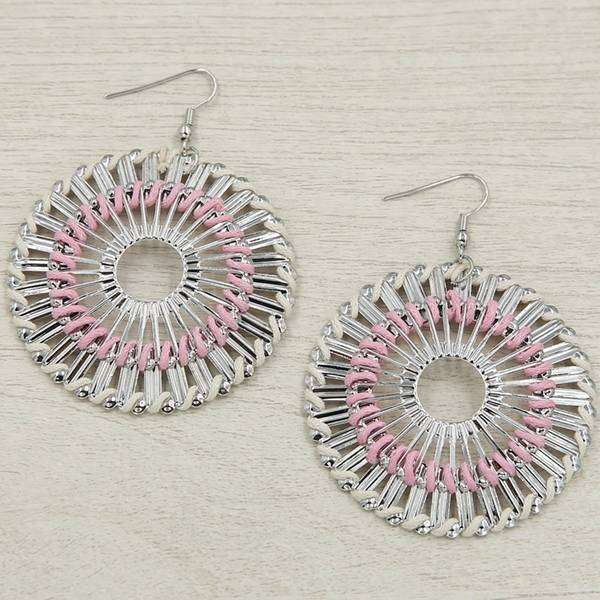 Pink Round Spiro Earring,Earrings,Elly, by Mad Style