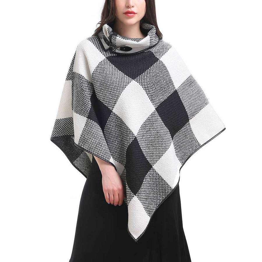 Plaid Cowl Poncho,Outerwear,Mad Style, by Mad Style