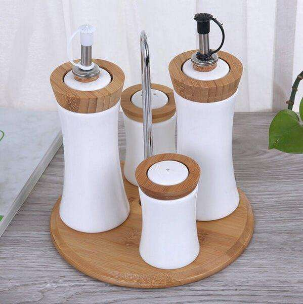 Porcelain Bamboo Oil Vinegar Salt Pepper Set