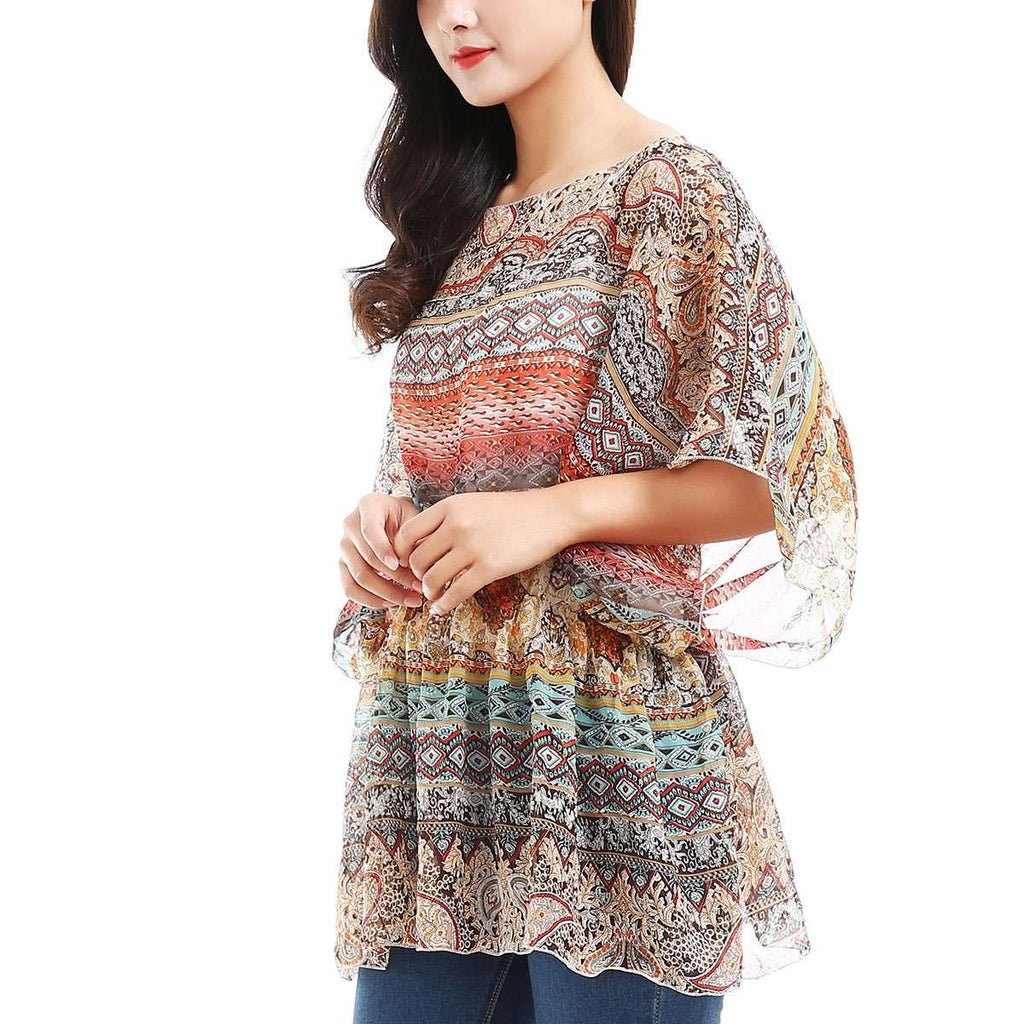 Printed Smocked Tunic,Tops,Mad Style, by Mad Style