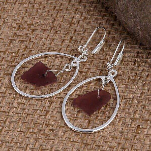 Purple Sea Glass Oval Earrings