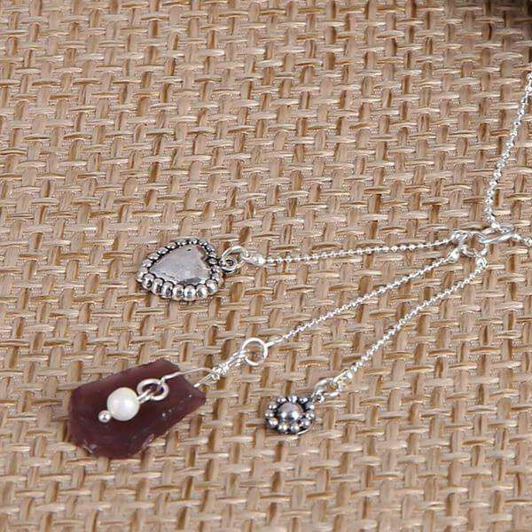 Purple Sea Glass With Heart And Flower Charm Necklace,Necklaces,Elly, by Mad Style