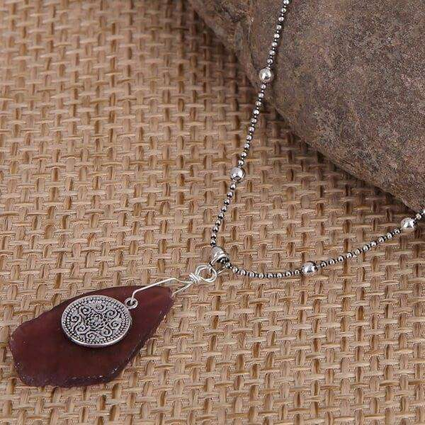 Purple Sea Glass With Hieroglyphic Charms Necklace,Necklaces,Elly, by Mad Style