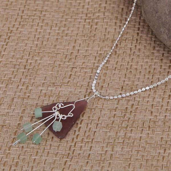 Purple Sea Glass With Rain Drops Charm Necklace