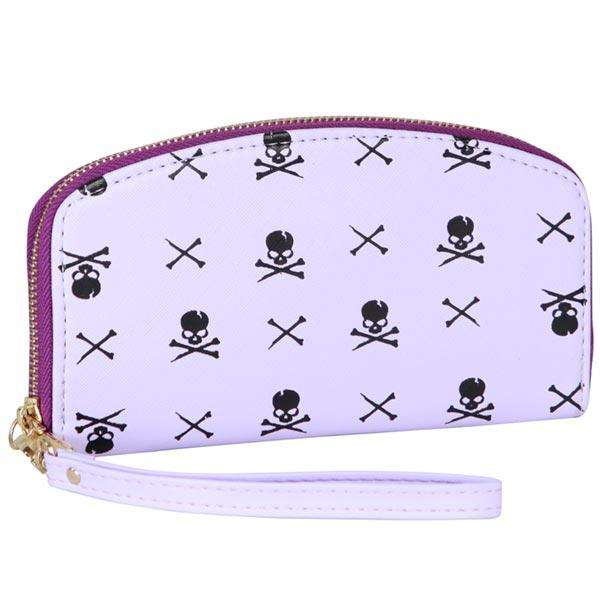 Purple Skull & Bones Wristlet Wallet,Wallets,Mad Style, by Mad Style
