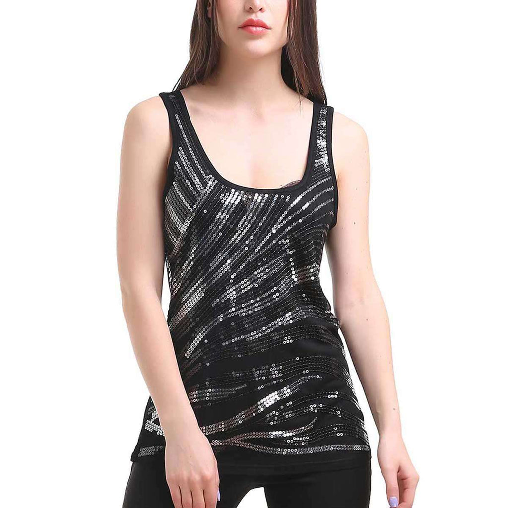 Racerbank Tank With Silver And Black Sequins,Tops,Mad Style, by Mad Style
