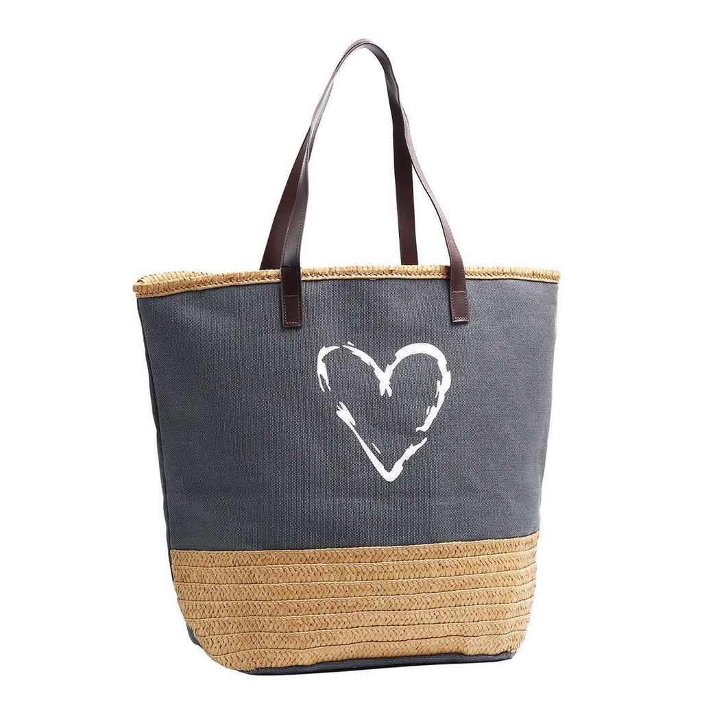 Raffia & Canvas Love Tote,Totes,Mad Style, by Mad Style