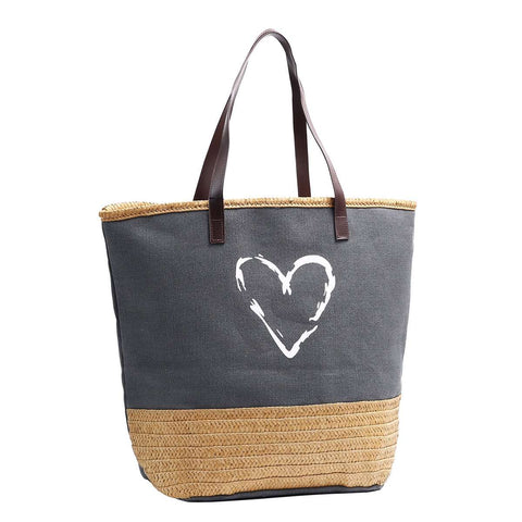 Raffia & Canvas Love Tote