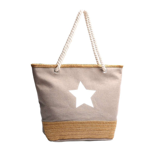 Raffia & Canvas Star Tote