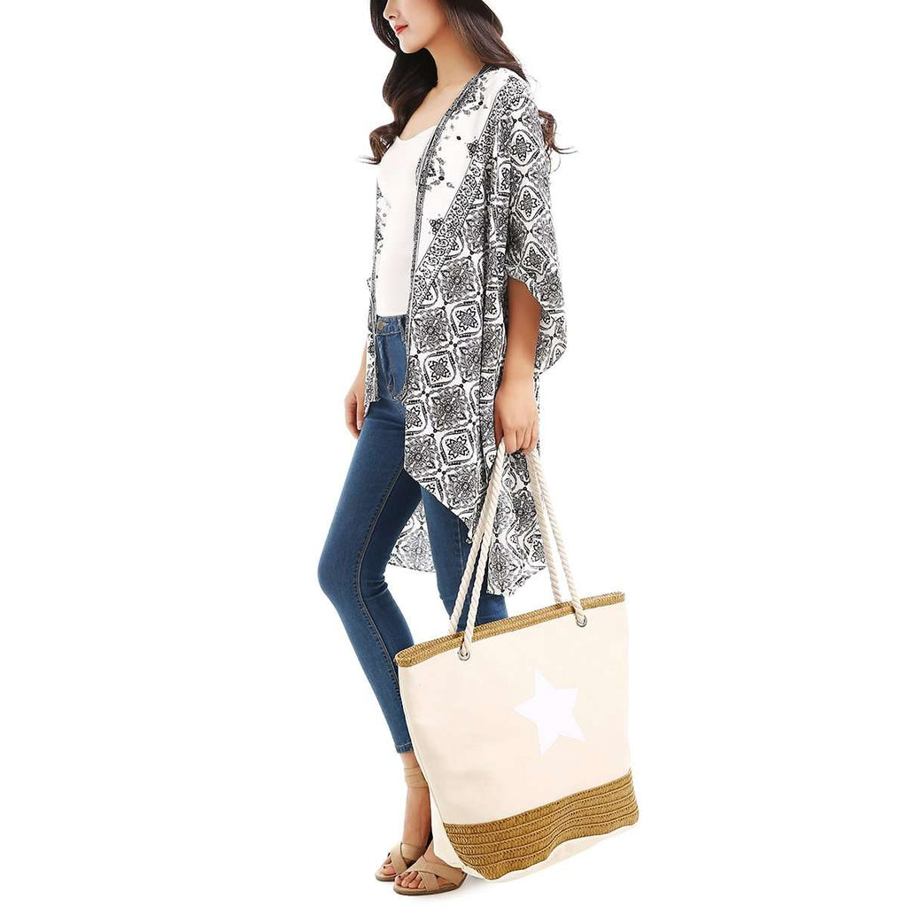 Raffia & Canvas Star Tote,Totes,Mad Style, by Mad Style