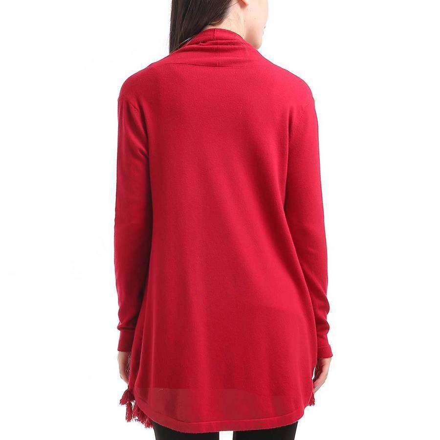 Red Tassel Hem Cardigan,Outerwear,Mad Style, by Mad Style