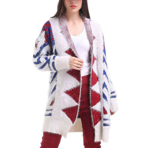 Red/White/Blue Diamond Print Cardigan