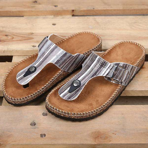Sandals Pencil Stripe Slides (Grey)