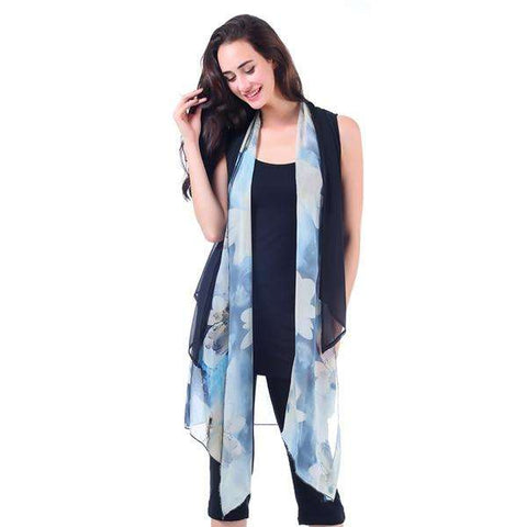 Sheer Watercolor Long Vest