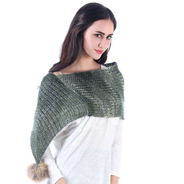 Shoulder Shawl With Pom,Heavy Scarves,Mad Style, by Mad Style