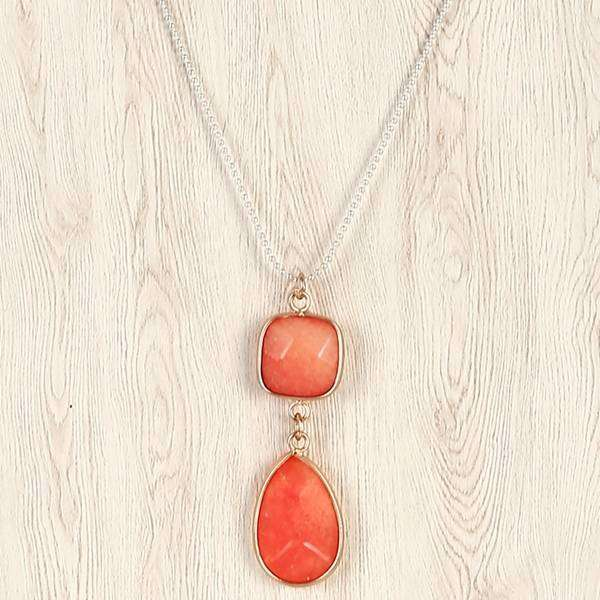 Silver Delphine Matte Stone Statement Necklace