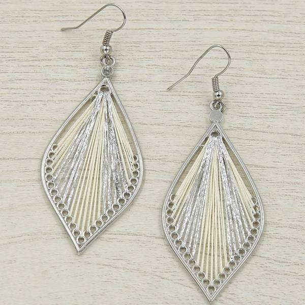 Silver Threaded Leaf Earring,Earrings,Elly, by Mad Style