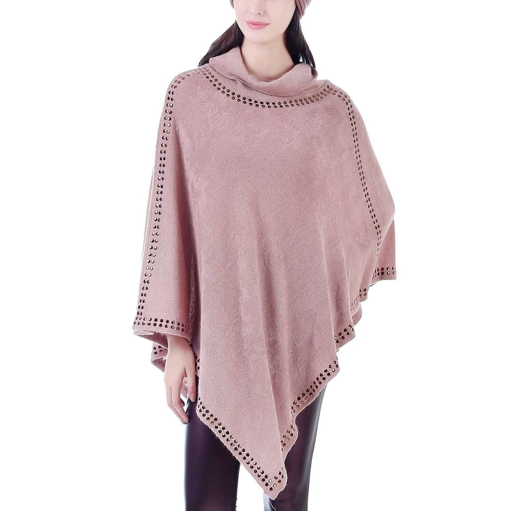 Suede Studded Cowlneck Poncho,Outerwear,Mad Style, by Mad Style