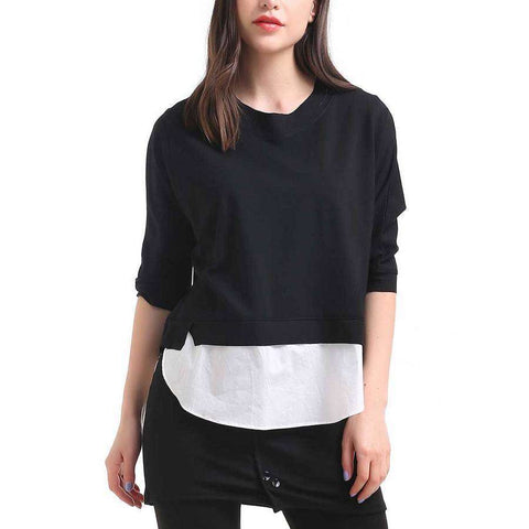 Sweatshirt With Shirting Hem