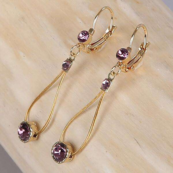 Teardrop Earring With Crystals,Earrings,Elly, by Mad Style