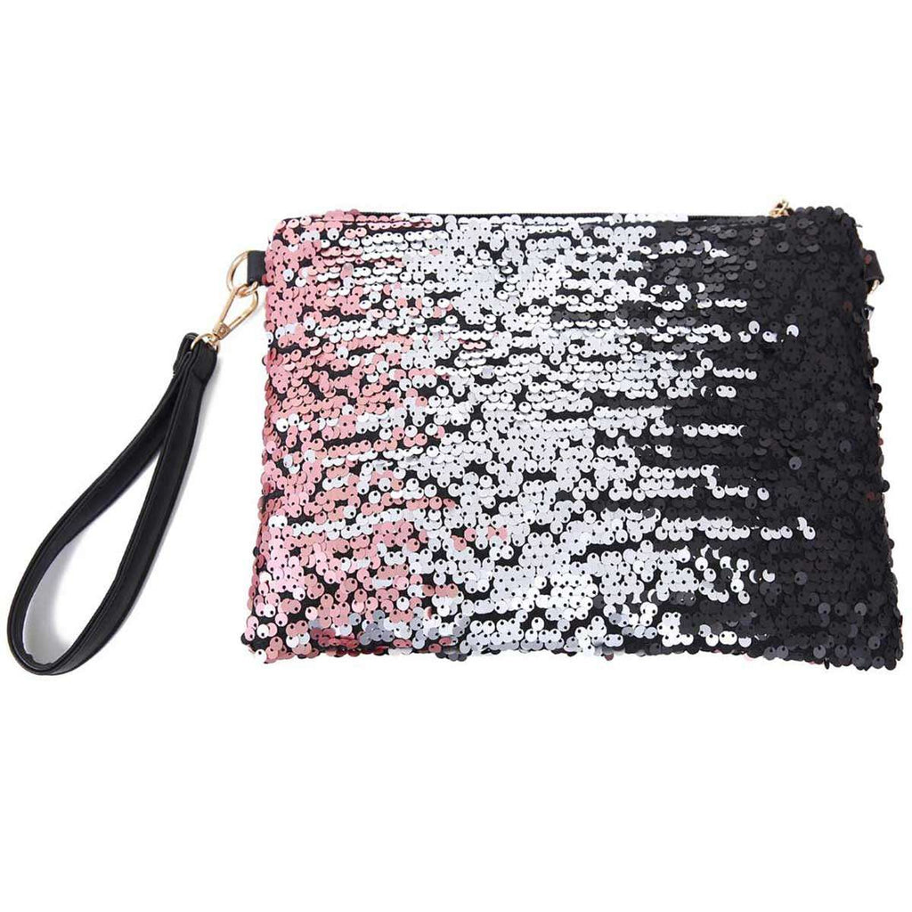 Tri-Colored Sequined Clutch Bag,Clutches,Mad Style, by Mad Style