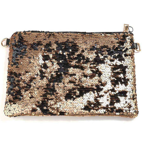 Tri-Colored Sequined Clutch Bag