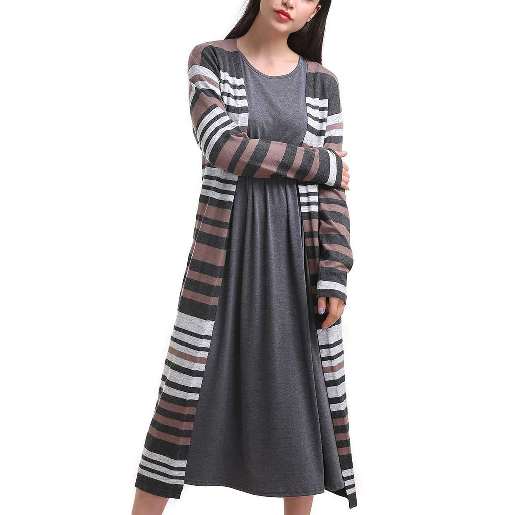 Variegated Stripe Long Duster Cardigan,Outerwear,Mad Style, by Mad Style