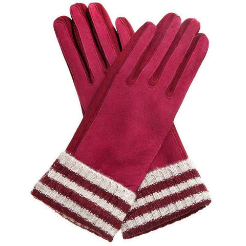 Varsity Knit & Faux Suede Gloves
