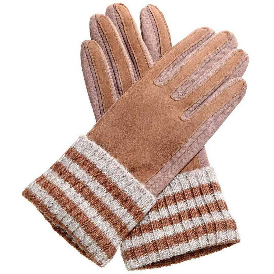 Varsity Knit & Faux Suede Gloves,Winter Accessories,Mad Style, by Mad Style