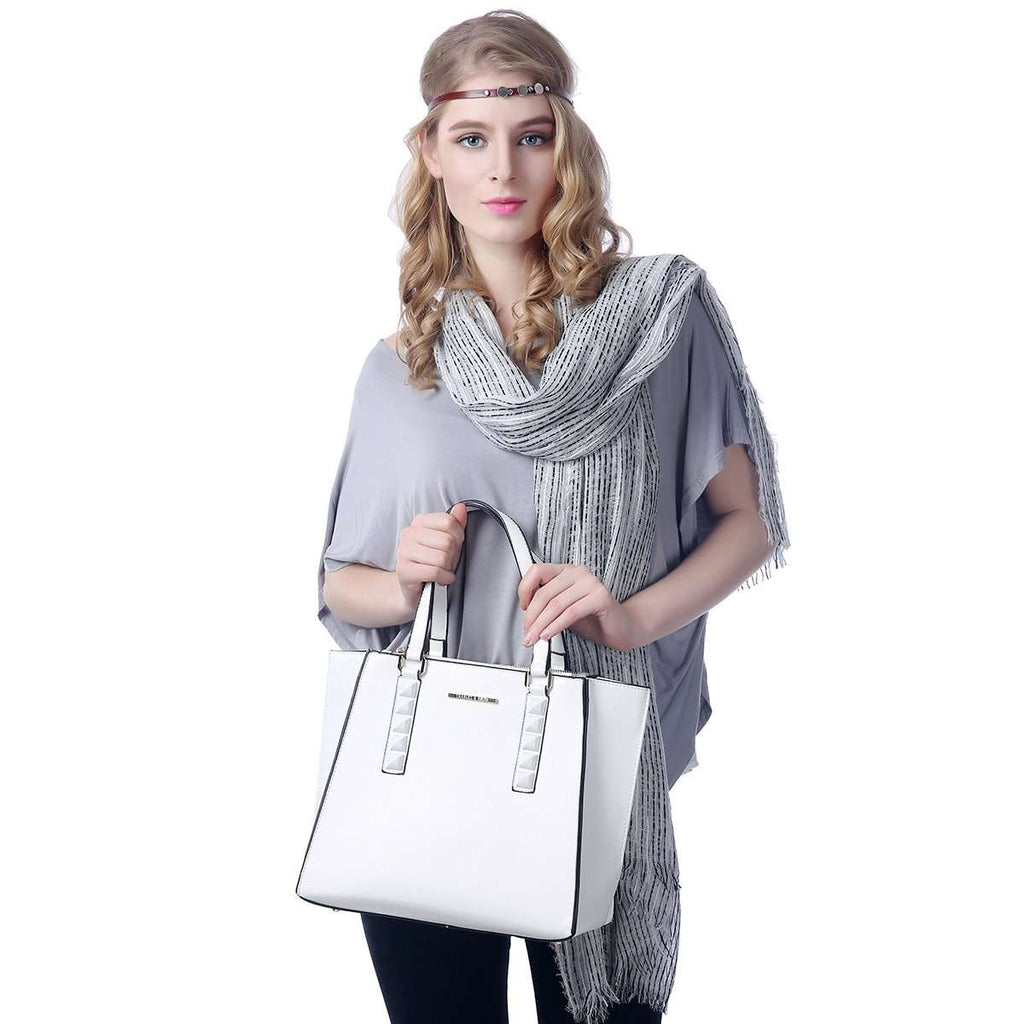 White Cassie Tote Bag,Totes,Mad Style, by Mad Style