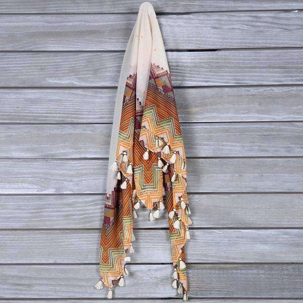 White Orange Large Square Tassel Scarf,Light Scarves,Mad Style, by Mad Style