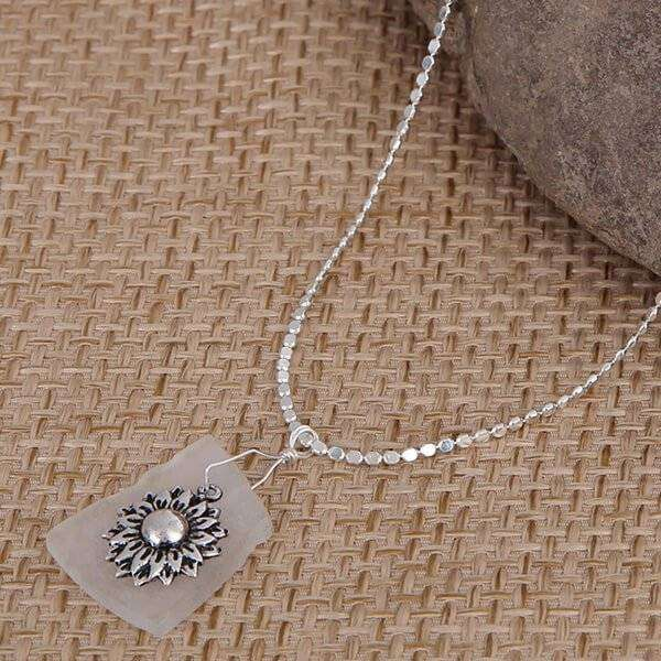 White Sea Glass With Sunflower Charm Necklace