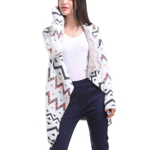 White/Orange/Black Aztec Zig Zag Cardigan
