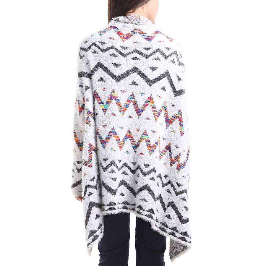 White/Orange/Black Aztec Zig Zag Cardigan,Outerwear,Mad Style, by Mad Style