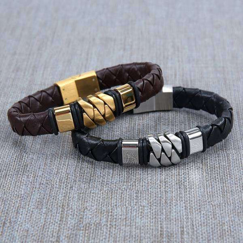 Woven Metal & Leather Bracelet